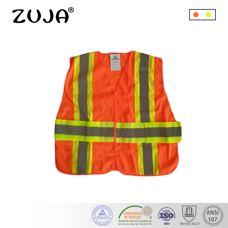 Safety Vest Mesh Vest Traffic Fluorescent Breathable Adjustable Pvc Tape Safety Clothing