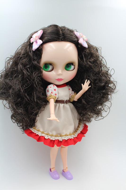 Free Shipping BJD joint RBL-205J DIY Nude Blyth doll birthday gift for girl 4 colour big eyes dolls with beautiful Hair cute toy купить