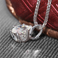 18K 750 White Gold Pendant 2ct 8MM F Color Lab Grown Moissanite Diamond Fashion with Silver Chain Necklace Solid For Women