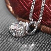 18 К 750 белый золотой кулон 2ct 8 мм F Цвет Лаборатория Grown Муассанит алмаз моды с серебряной цепочке Цепочки и ожерелья, Для женщин