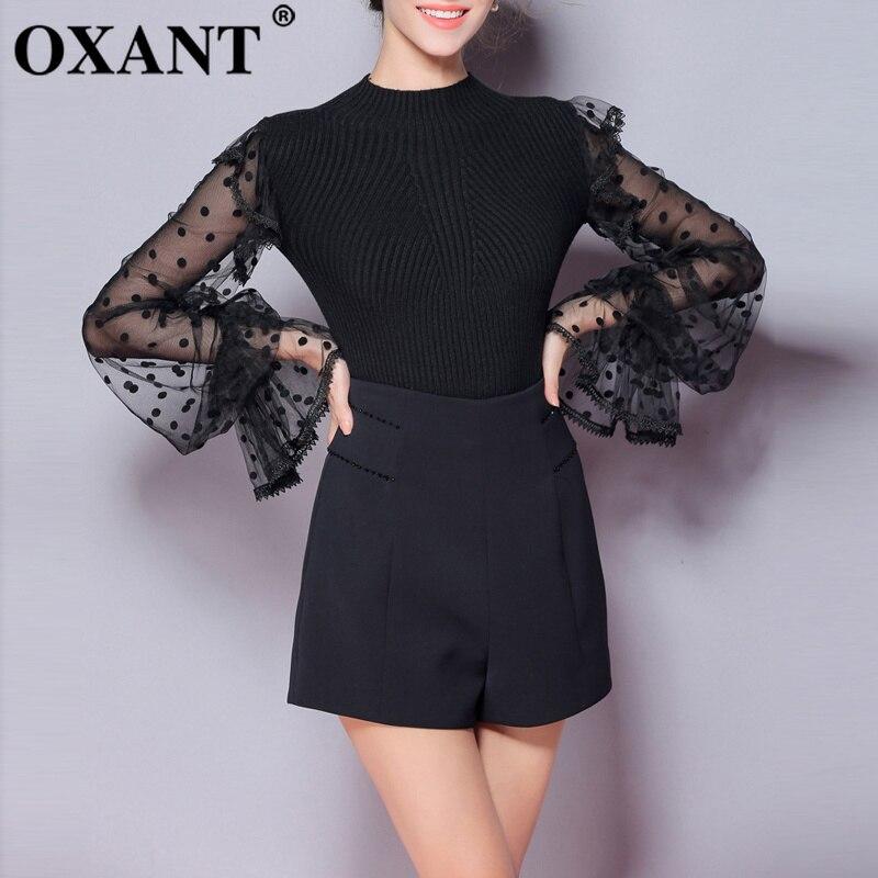 OXANT femmes chandail 2019 automne hiver nouveau Design Original de mode Point maille manches Blouse mince chandail vêtements d'hiver