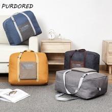 PURDORED 1 pc Folding Travel Bag Unisex Luggage Travel Handb
