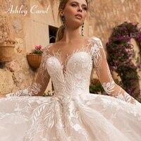 Эшли Карол сексуальное свадебное платье с v-образным вырезом и аппликацией из тюля 2020 Иллюзия спинки с длинным рукавом принцесса Бохо Круже...