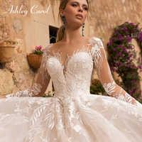 Ashley Carol Sexy V-ausschnitt Appliques Tüll Hochzeit Kleid 2020 Illusion Backless Lange Hülse Prinzessin Boho Spitze Hochzeit Kleider