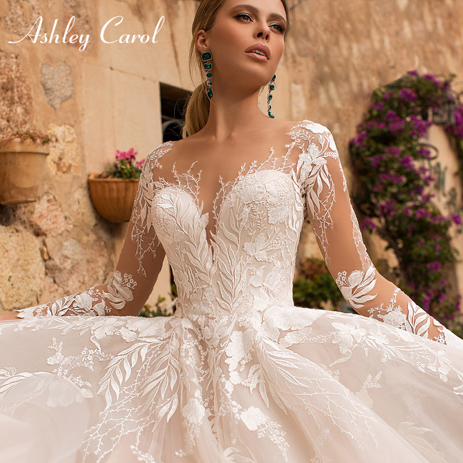 Ashley Carol Sexy V-neck Appliques Tulle Wedding Dress 2020 Illusion Backless Long Sleeve Princess Boho Lace Wedding Gowns