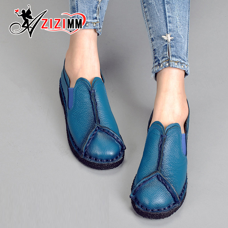 ФОТО 2017 Women's Handmade Shoes Genuine Leather Flat Lacing Mother Shoes Woman Loafers Soft Single Casual Shoes Women Flats AG51