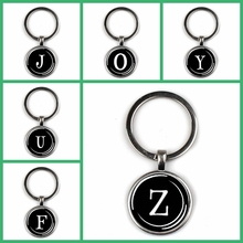Fashion personalize 26 letter ID charm keychain glass cabochon text keyring men women punk jewelry key chain friends gift