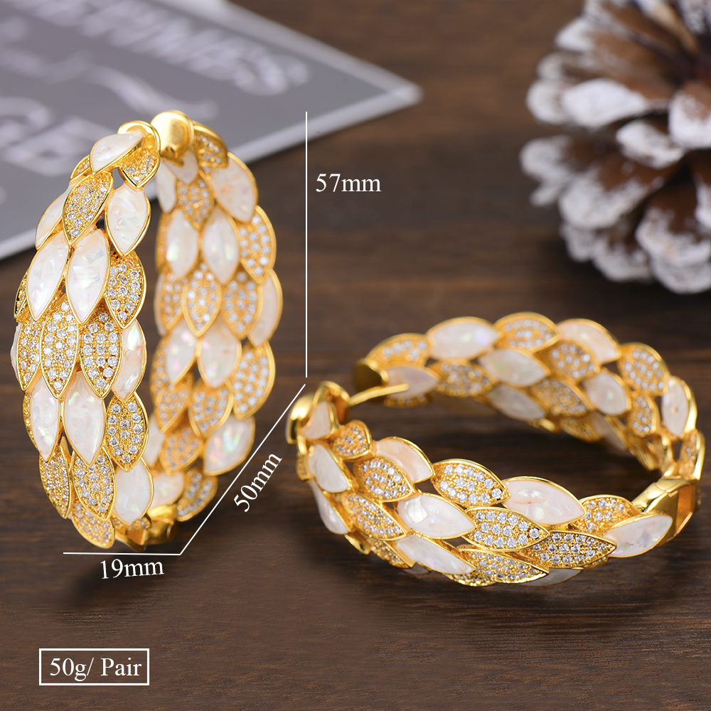 Image 5 - GODKI Luxury Peacock Abalone Shell Statement Big Hoop Earrings  For Women Wedding Cubic Zircon DUBAI Bridal Circle Hoop EarringHoop  Earrings