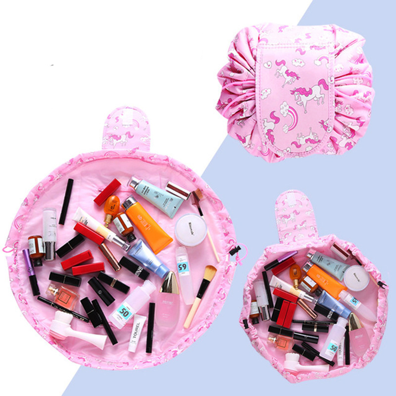 Women Cartoon Unicorn Flamingo Cosmetic Bag Travel Drawstring Makeup Toiletry Storage Organizers Portable Wash Kits Bag Case