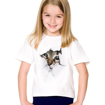 2017 fashion summer cute children brand clothing for kids girl short sleeve print 3d cat t shirts tops baby clothes