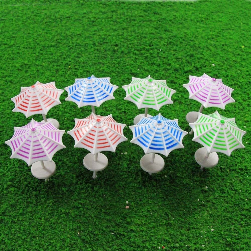 Toys & Hobbies Model Building Kits Tys13050 8pcs Model Train Railway Sun Umbrella Parasol 1:50 O G Scale Garden Sea Beach Plastic Model Umbrella Top Watermelons