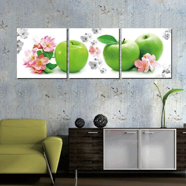 Home Decor Wall Art Pittura Murale Fiore Cucina Verde Mela ...