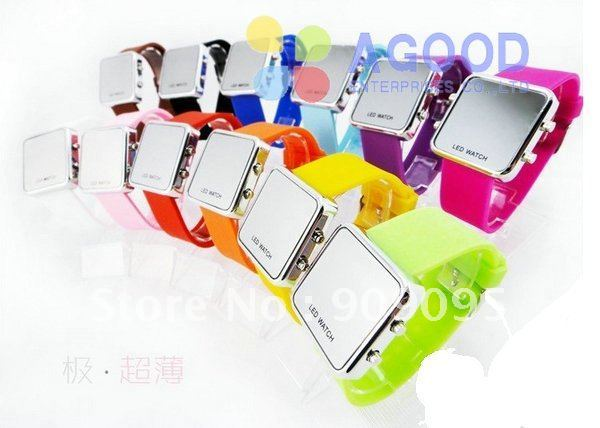 300pcs/lot factory sales Classic Square Unisex LED Watches Mirror Watch Alloy case and Silicone strap 12 colors SW08