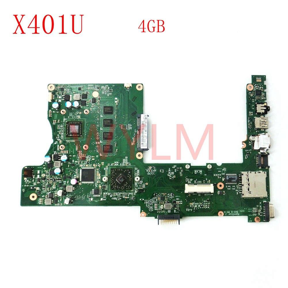 free shipping X401U-M3 With 4GB memory mainboard REV2.0 For ASUS X401U X501U Laptop motherboard 60-N4MB1801-B03 100% Tested laptop keyboard for asus x501 x501a x501u black without frame italian it mp 11n66i0 920w 0knb0 6103it00