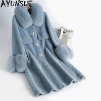 AYUNSUE Echt Pelzmantel Schafschur Lange Winter Mantel Frauen Kleidung 2019 Wolle Jacke Echt Fox Pelz Kragen Abrigos Mujer KJ1033