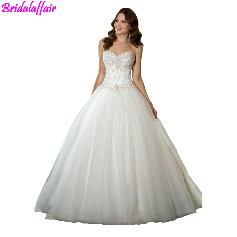 2019 Wedding Dress Sweetheart Beaded Corset Bodice Classic Tulle Wedding Dress Wedding Gown Abiti Da Sposa Bridal Dresses