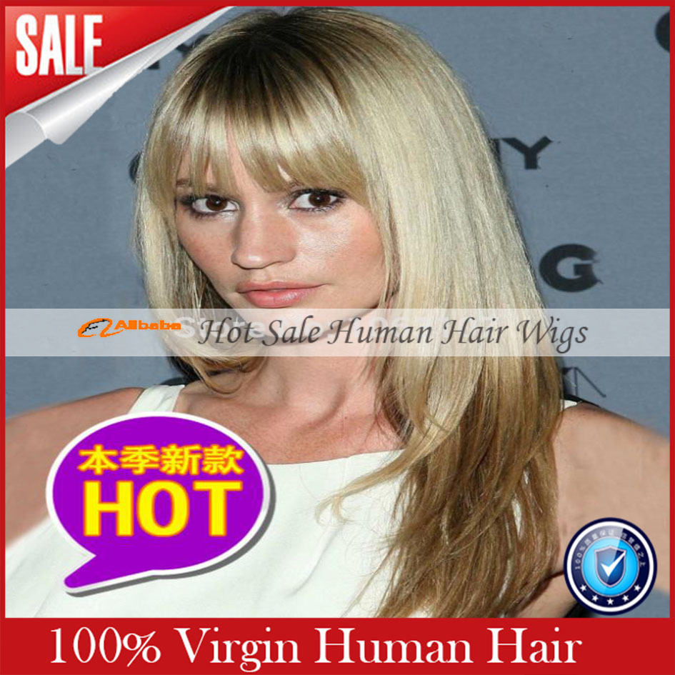 2015 Lace Front Wig Newest Free Style Long font b Straight b font Blonde Wig 100