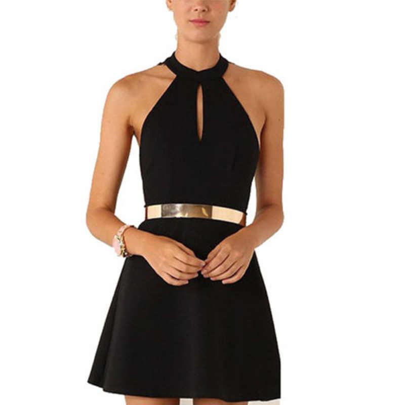Платье без рукавов 2017 новая мода открытая спина кружева Висячие шеи отверстие вечернее платье Алина мини платье черный белый