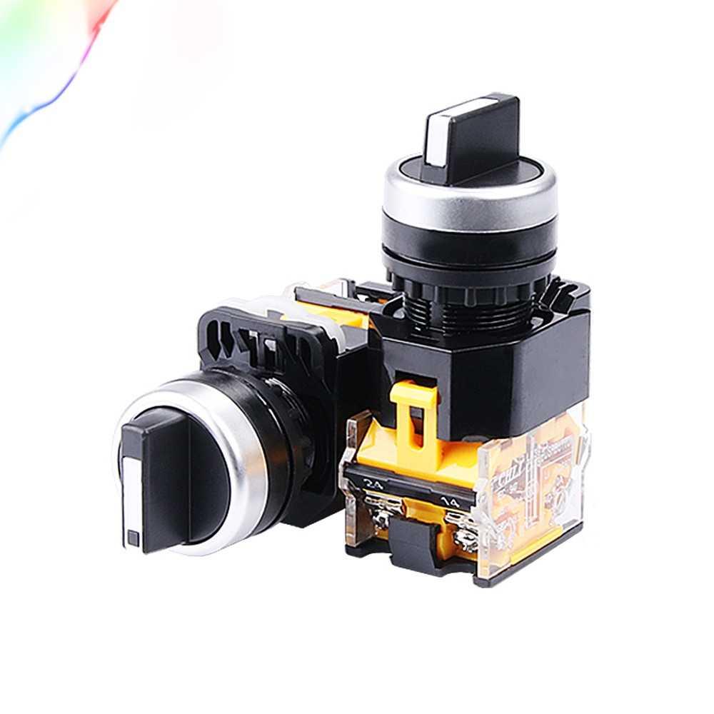 1 шт. 22 мм Селекторный переключатель с самоблокирующимся замком 1NO1NC 2 положения поворотные переключатели DPST 4 винта 10A400V выключатель питания вкл/выкл красный зеленый черный