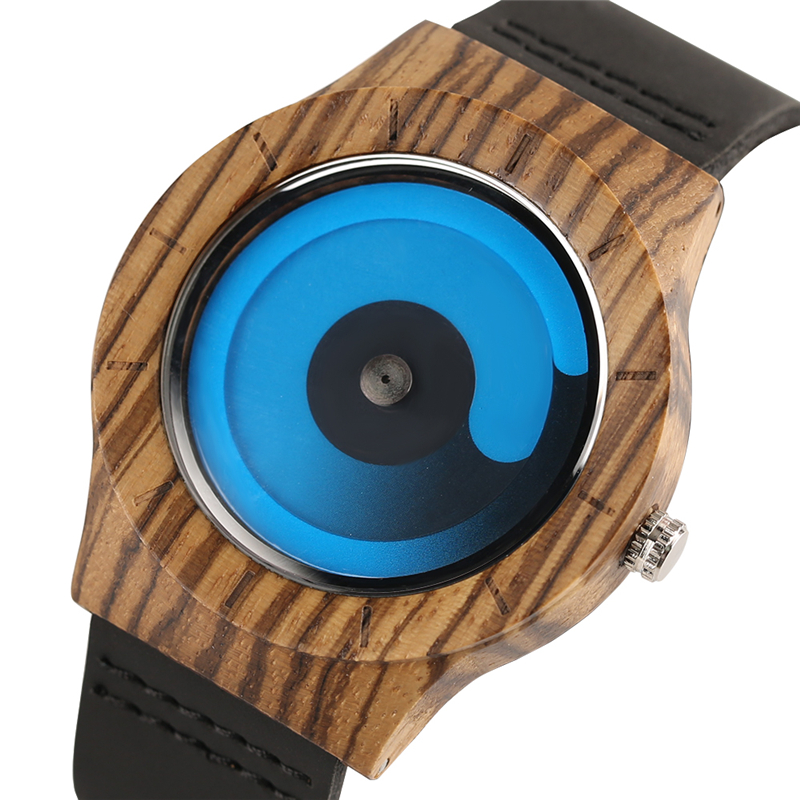 Blue/Purple Swirl Dial Wooden Creative Watches Men Casual Leather Strap 2018 New Arrival Zebra Wood Wristwatch Man's Clock Gift black coffee dial zebra wood watch men quartz modern bamboo wooden creative watches 2017 new arrival handmade simple clock gift