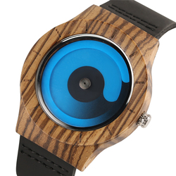 Blue/Purple Swirl Dial Wooden Creative Watches Men Casual Leather Strap 2018 New Arrival Zebra Wood Wristwatch Man's Clock Gift
