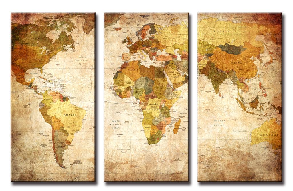 3 Pcs/Set Still Life Vintage World Maps Painting Wall Art Picture ...