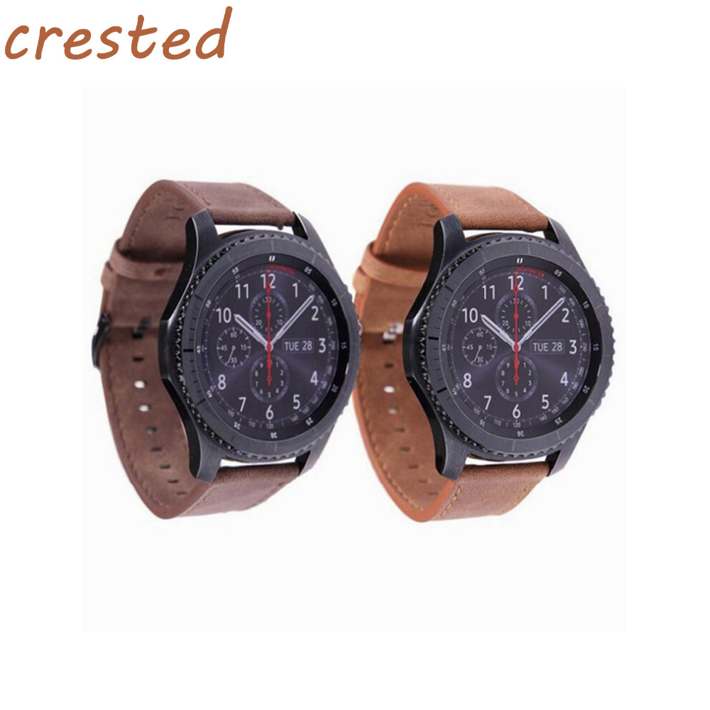 CRESTED Retro style Leather Watch strap Band for Samsung Gear S3 Frontier band For Gear S3 Classic Watchband 22mm bracelet crested genuine leather strap for samsung gear s3 watch band wrist bracelet leather watchband metal buck belt