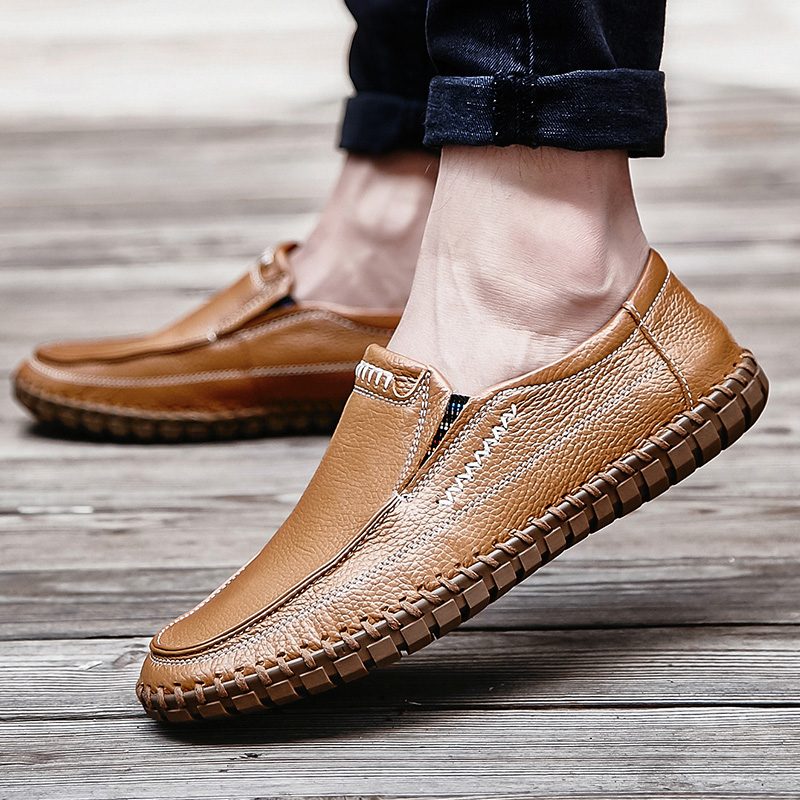 CIMIM Autumn Real Leather Handmade Shoes Slip On Genuine Leather Loafers Solid Moccasins Shoes Big Size Causal Men Driving Shoes dekabr new 2018 men cow suede loafers spring autumn genuine leather driving moccasins slip on men casual shoes big size 38 46