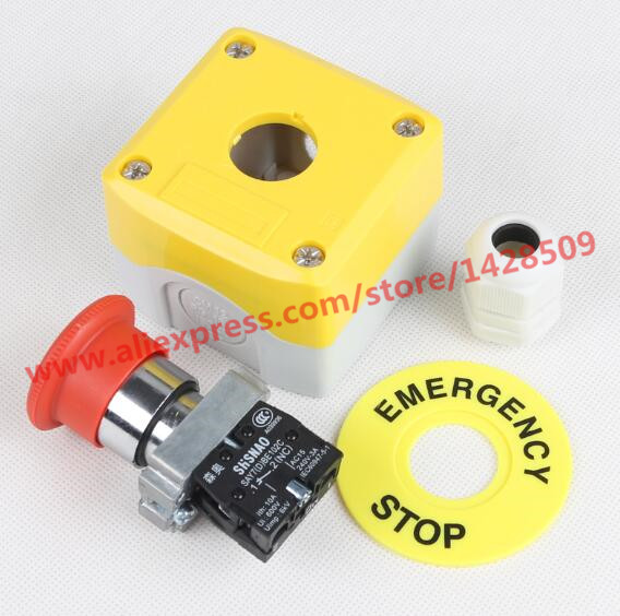 AC 600V 10A normal close Plastic Shell Red Sign Emergency Stop Mushroom knob Switch 22mm elevator emergency stop switch promotion 22mm nc n c red mushroom emergency stop push button switch 600v 10a
