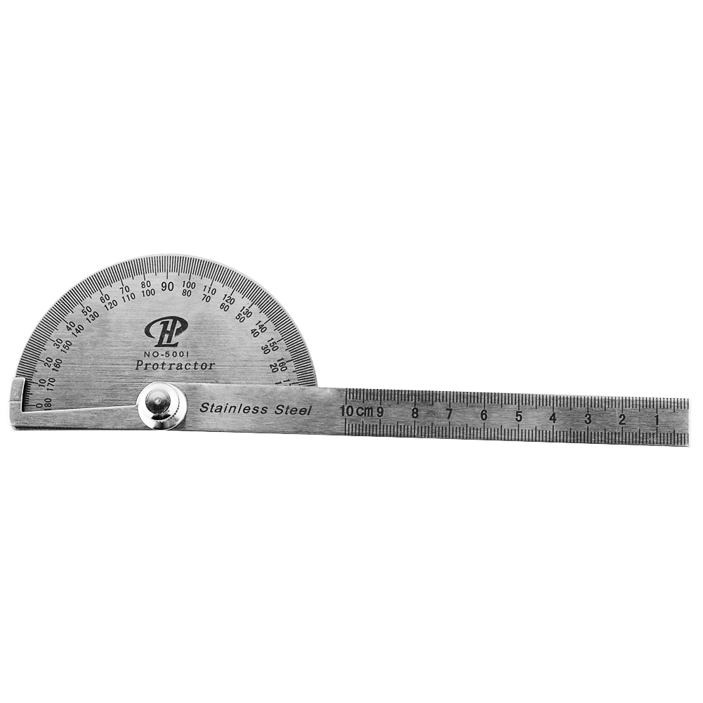 New Portable Multi Function Stainless Steel Round Head Protractor Angle Ruler Goniometer Mathematics