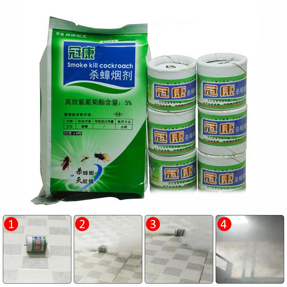 6PCS Eliminate Cockroach Killer Fumigant 25G Insecticide For Fly Mosquito Flea Killer Smoke Insecticide in Foggers Sprayers from Home Garden