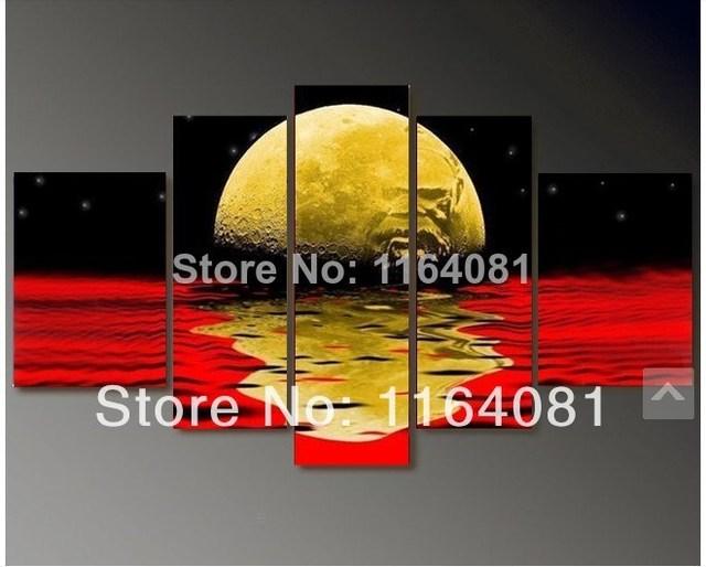 2014 wholesale 5pcs Red black yellow moon sunrise sunset paintings ...