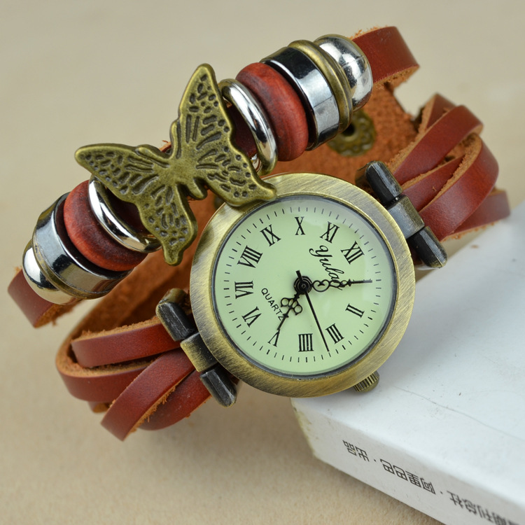 Cheapest Clearing Stock Best Hot Selling Women Genuine leather Bracelet Watch Dress Watches leaf Vintage WristWatch