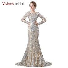 Vivian's Bridal Long Sleeve Mermaid Evening Dress