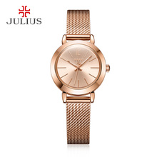 JULIUS JA-732 Female Women's Silver Rose Gold Tone Mesh Stainless Steel Quartz Analog Waterproof Fashion Watch Casual Wristwatch
