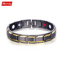 hot deal buy abrray magnetic hematite copper bracelet men's health bracelets with hook buckle clasp therapy bangles man health care jewelry
