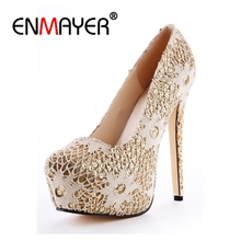 ENMAYER Platform Pumps Women Sexy Extremely High Heels Shoes Bridal Stiletto Ladies Wedding Lace Party Shoes Thin heels CR114 fashion lace flower 2016 ultra high heels bridal shoes rhinestone thin heels wedding shoes party shoes free shipping party