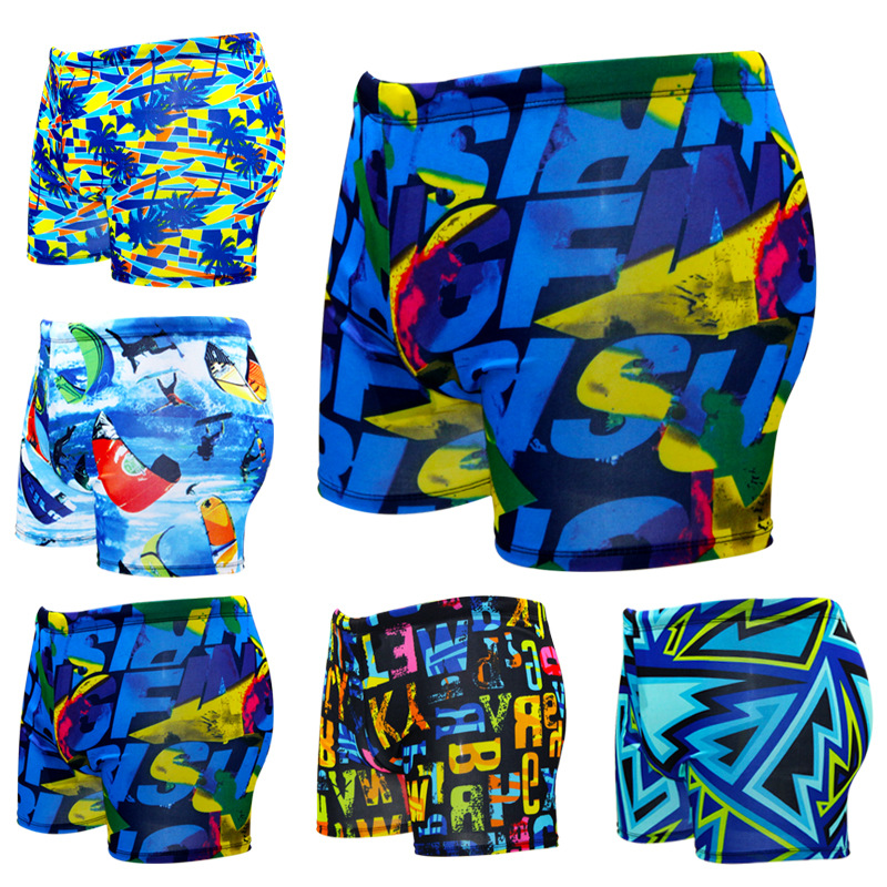 Summer Men Printed Swimming Trunks Thin Beach Swimmsuit Boy Boxer Surfing Beach Wear Swimwear Plus Size   Board     Shorts   Pants