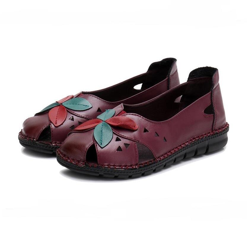 Mère La Summer 2018 Mujer vin Casual Rouge Véritable Cuir Floral Femme Zapatos Chaussures Main New Mou Appartements Femmes jaune À Fond Noir En gO0wx5A0q