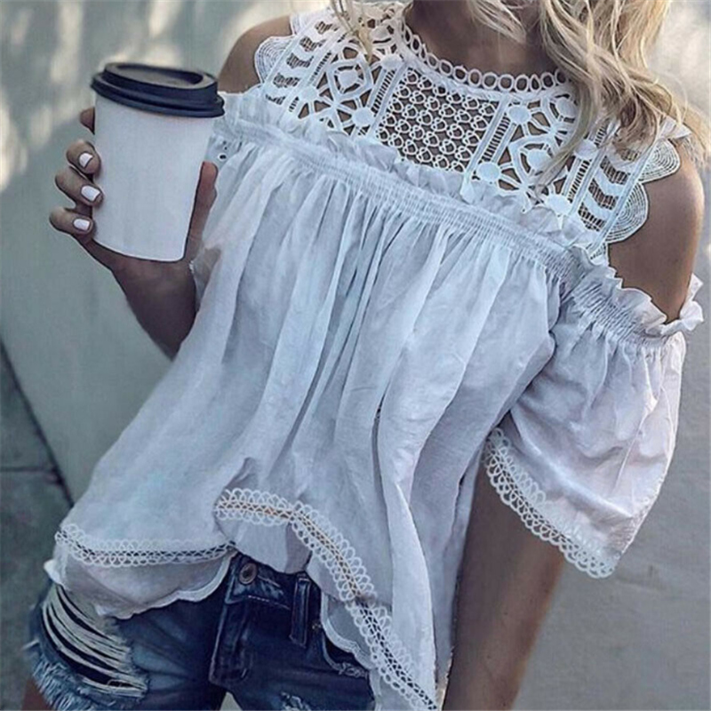 Women Ladies Summer Lace Off Shoulder Hollow White Casual Shirt Tops Blouse Women Short Sleeve Blouse Top Femme Camisas Mujer