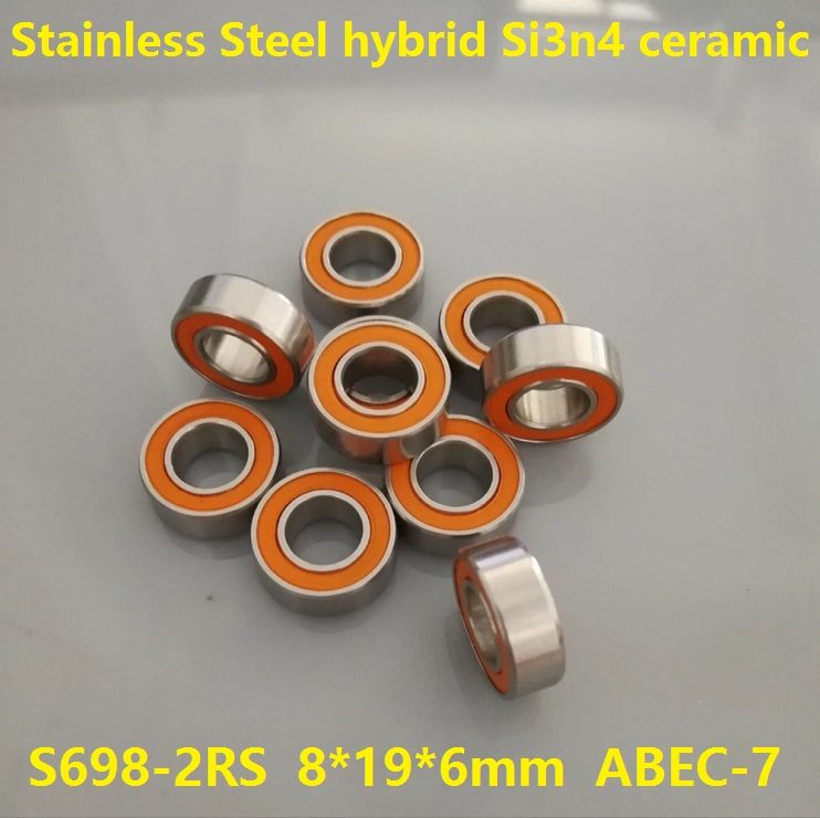 6pcs or 10pcs S698-2RS 8x19x6 mm ABEC-7 Stainless Steel hybrid Si3n4 ceramic bearing 698RS 698 2RS CB LD fishing reel 8*19*6 6pcs or 10pcs s698 2rs 8x19x6 mm abec 7 stainless steel hybrid si3n4 ceramic bearing 698rs 698 2rs cb ld fishing reel 8 19 6