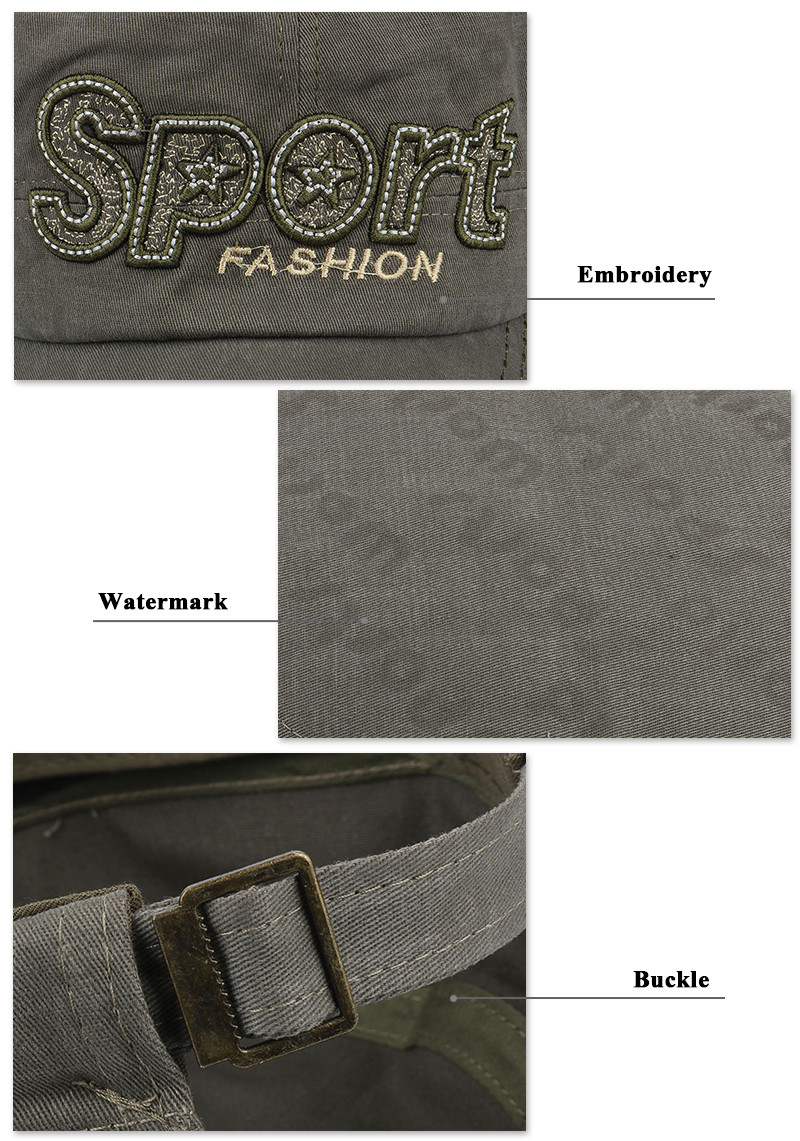 """Embroidered """"Sport"""" Milicap - Embroidery, Fabric and Buckle Detail"""