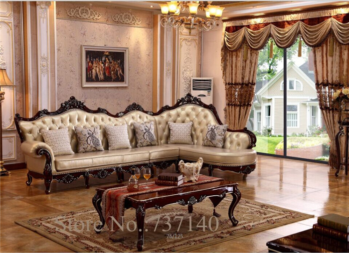 chaise reclining armchair Luxury Baroque Style Living Room Furniture L shape sofa Set wood and