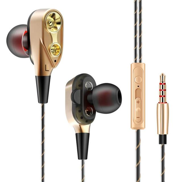 Original brand Fonge FG6 Dual-Dynamic Quad-core Wired Earphone Stereo Bass Sport music headset Earbuds with mic for phone mp3