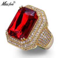 HOT!!! Hip Hop High Quality Square Ruby Rings Men Super Luxury Brand Full Micro Pave CZ Diamond Bling Wedding Rings Men Jewelry