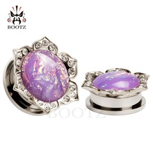 2016 2pcs pair pink ear plugs piercing tunnel stainless steel crystal body jewelry flash gagues changing colors stone design