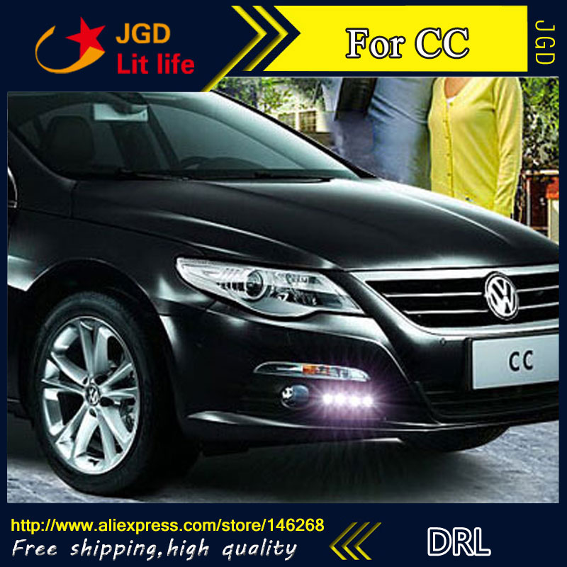 Free shipping ! 12V 6000k LED DRL Daytime running light for VW CC 2010-2013 fog lamp frame Fog light Car styling hot sale abs chromed front behind fog lamp cover 2pcs set car accessories for volkswagen vw tiguan 2010 2011 2012 2013