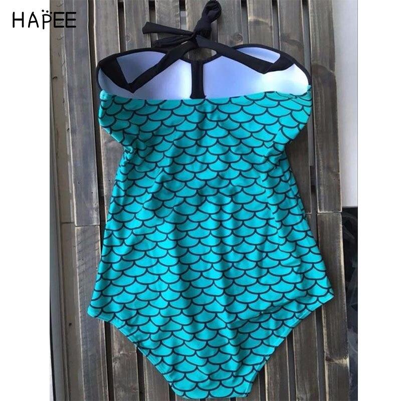 3959c2a390b24 PLUS Size Mermaid Fish Scale Bikini Print Cobalt blue One Piece Swimwear  Women Halter Cyan Wave Pattern Monokini Swimsuit L 3XL-in One-Piece Suits  from ...