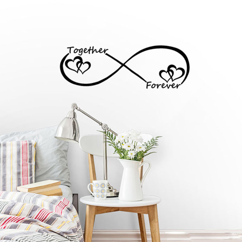Love Heart Together Forever Quote Wall Decals Heart Wall Stickers For Living Room Home Decoration Art Words Home Decor Wallpaper in Wall Stickers from Home Garden