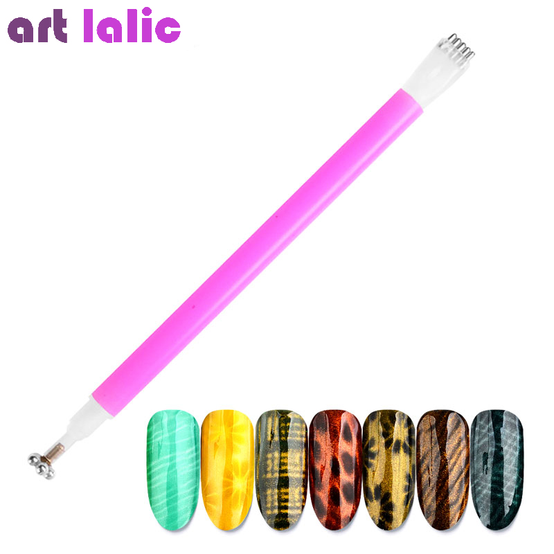 Nail Art Magnet Stick Cat Eyes Double Headed Magnet for Nail Gel Polish 3D Line Strip Flowers Effect Strong Magnetic Pen Tools